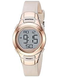 Armitron Sport Women's 45/7012PBH Rose Gold-Tone Accented Digital Chronograph Blush Pink Resin Strap Watch