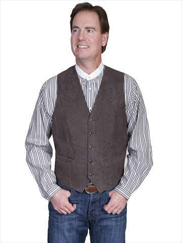 Scully 503-63-46L-L Mens Leather Wear Lamb Western Vest , Brown - 46L-L ()