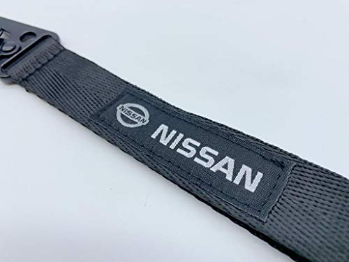 Nissan Lanyard (Woven) Black Strap Logo Emblem Premium Nylon Webbing Keychain Key Chain with Lobster Clasp Closure Steel Spring Clip Accessories