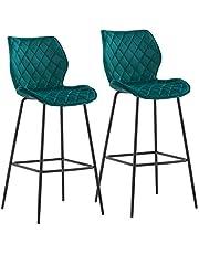 Duhome 2 x barkrukken barstoel van stof fluweel frame van metaal zithoogte 75 cm bar kruk bar stoel goed gewatteerd met rugleuning kleurkeuze 5180 V, kleur: petrol, materiaal: fluweel