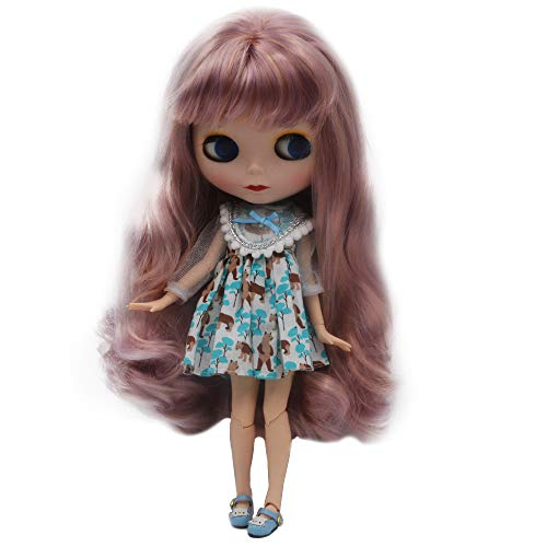 (1/6 BJD Doll is Similar to Neo Blythe, 4-Color Changing Eyes Matte Face and Ball Jointed Body, 12 Inch Customized Dolls Can Changed Makeup and Dress DIY, Nude Doll Sold Exclude Clothes (SNO.8))