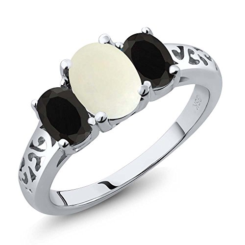 Oval 3 Stone Cabochon Ring - 1.83 Ct Oval Cabochon White Simulated Opal Black Onyx 925 Sterling Silver 3 Stone Ring