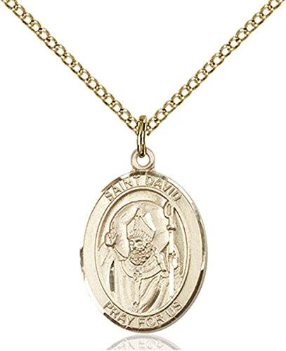 14K Gold Filled Saint David of Wales Medal Pendant, 3/4 ()