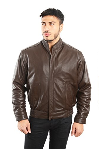 - REED EST. 1950 Men's Coat Genuine Lambskin Leather Stand UP Collar S5Z Bomber Jacket (Large, Brown)