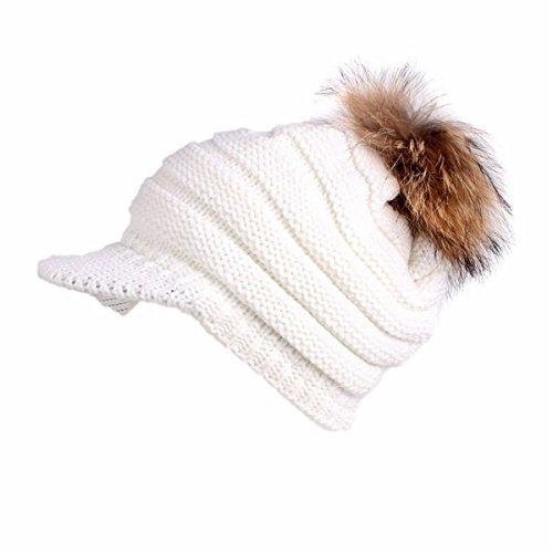 Qhome Winter Warm Lady Fur Pom Pom Visor Bill UV Sun Thick Stretchy Knit Beanie Skully Cap Beret Hat Women Knitted Cap ()