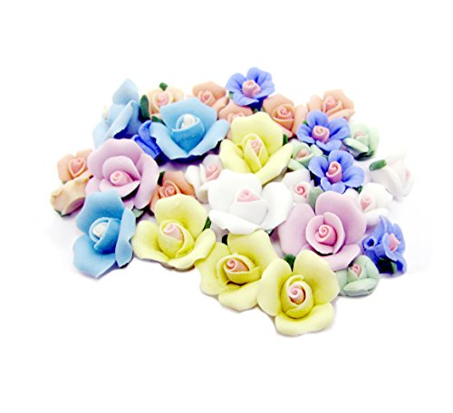 Linpeng CF-110716-MIX30 Vintage Rose Assorted Clay Flower,
