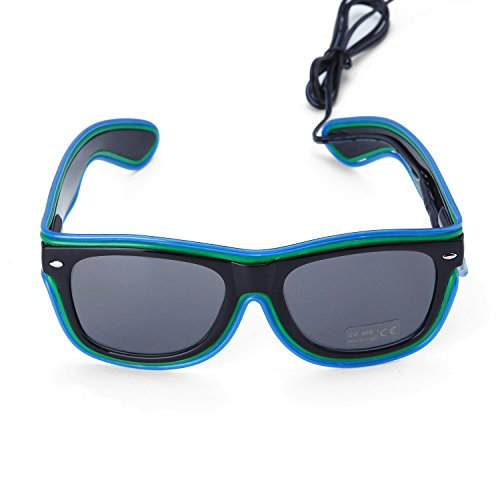 [LED EL Wire Rave Glasses Neon Light Up Glow flashing Sunglasses Double Colors(Blue+Green)] (5 Last Minute Halloween Costumes)