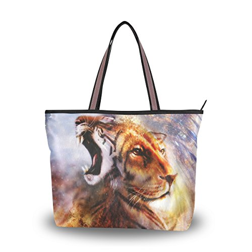 Tigers Zipper Top Handbag (My Daily Women Tote Shoulder Bag Tiger and Lion Handbag Medium)