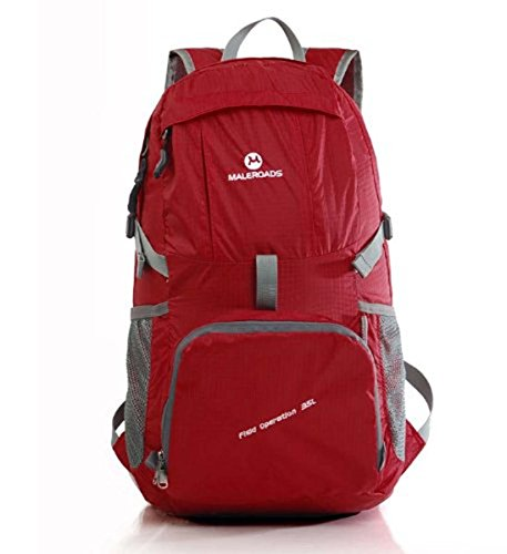 Best-selling Outdoor Sports 35L Foldable Ultra-light Backpack Shoulder Bag Designed For Camping Hiking Trekking Mountain Climbing (Red)