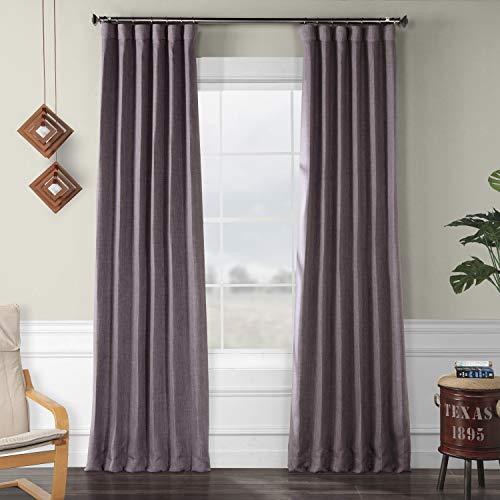 (HPD HALF PRICE DRAPES BOCH-LN18536-96 Faux Linen Blackout Room Darkening Curtain 50 X 96,Iris)