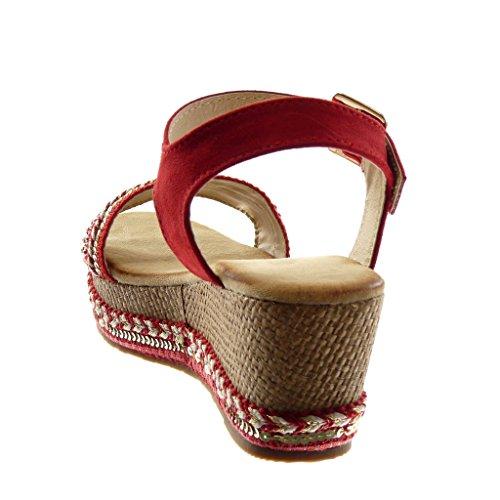 Angkorly Zapatillas Moda Sandalias Mules Correa de Tobillo Plataforma Mujer Perla Tanga Trenzado Plataforma 7 cm Rojo