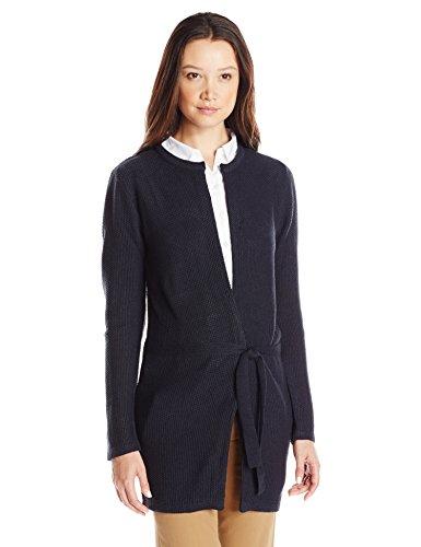 IZOD Junior's Uniform Seed Stitch Duster Sweater, Navy, X-Large (Womens Izod Vest)