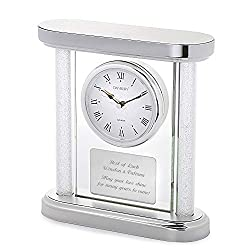 Things Remembered Personalized Silver Panel Wedding Clock with Engraving Included