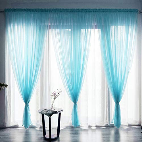 OrchidAmor Leaves Sheer Curtain Tulle Window Treatment Voile Drape Valance 1 Panel Fabric