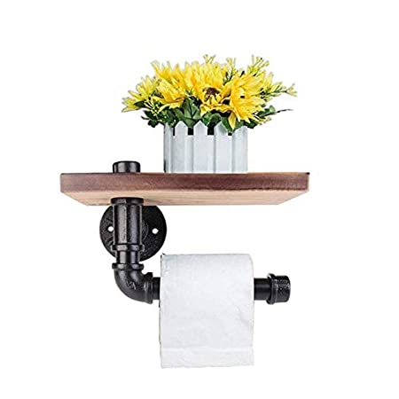 Toilet Roll Holder Multifunction Retro Styled Iron Pipe Wall Mount Paper  Towel Rack With Wooden