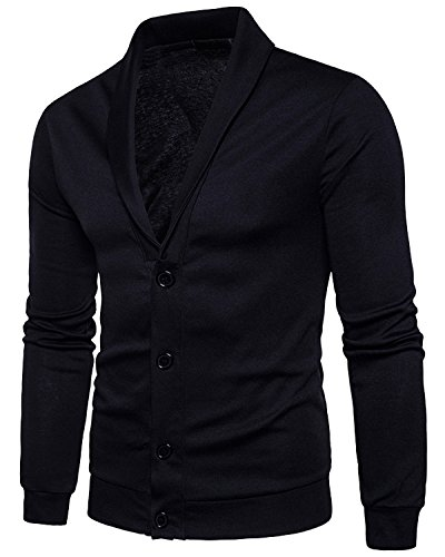Trensom Men's Casual Slim Fit Lightweight Long Sleeve V Neck Front Button Solid Cardigan Black Medium (V-neck Men Sweaters Cardigans)