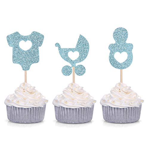 24 Blue Glitter Cupcake Toppers Onesie Pacifier Stroller Shaped for Baby Shower Boy's Party Decorations -