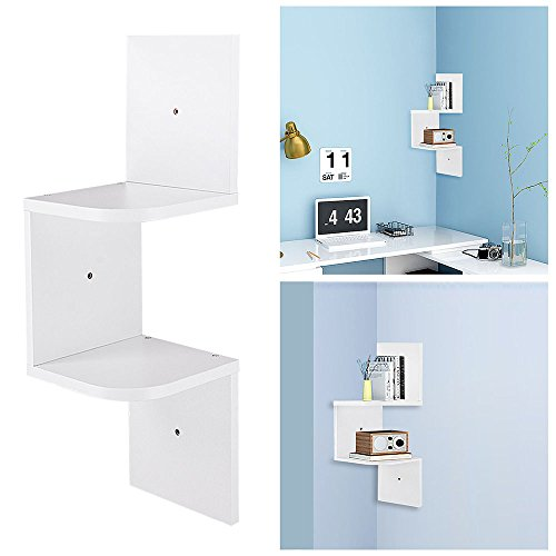 Yescom 2 Tiers Wall Mount Corner Shelf Wood Storage Organizer w/ Gradienter Home White