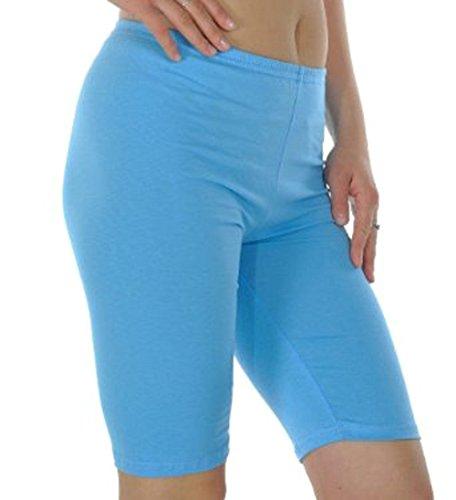 Longitud de la rodilla sin costuras elástico Yoga pantalones cortos Capri danza bajo falda Leggings básico elástico sin costuras medias pantalones cortos turquesa