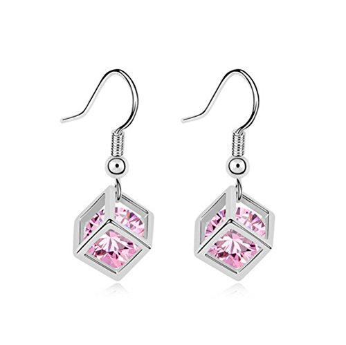 The Starry Night Love Square Frame Pink Zircon Silver Plated Dangle Earring (Women,Girls) (Diamonds 13mm Tahitian Pearl Ring)
