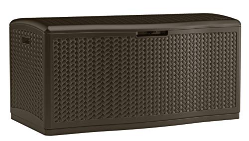Suncast 124 Gallon Extra Large Deck Box - Lightweight Resin Outdoor Storage Deck Box for Patio Cushions, Gardening Tools and Toys - Mocha Herringbone (Deck Furniture Patio Box)