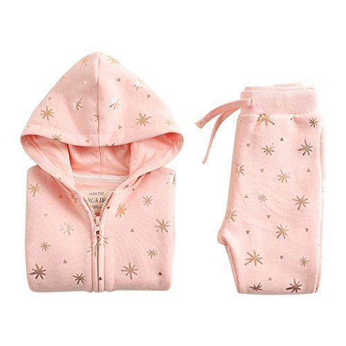 Price comparison product image marc janie Baby Girls Kids' Spring 2 Piece Set Pattern Hoodies and Pants Coral Pink 5T