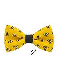 Bow Tie House Honey Bees bow tie pre-tied yellow-black color unisex pattern (Medium, Yellow Bees)