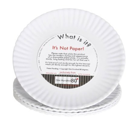 What Is It? LARGER SIZE 11-inch Reusable White Dinner Plate, Melamine, Set of 4