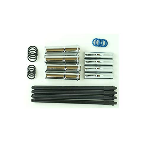 Chrome Complete Adjustable Pushrods Tube Covers & O Rings Rebuild Kit comp w/Harley EVO Bi Quick ()