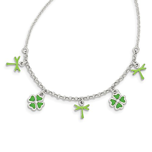 925 Sterling Silver Enamel 4 Leaf Clover Childs Chain Necklace Pendant Charm Fine Jewelry Gifts For Women For Her