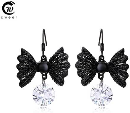 Glucky : Fine Jewelry Black Statement Bowknot Vintage Earrings For Women Crystal Earring Dangle Fashion Accessories