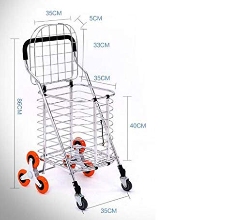 Portable Trolley, Metal Cart Shopping Trolley 3 Wheels Shopping Cart Large Shopping Bags Luggage Carts Can Climb Stairs Huge Capacity Metal Cover Baby Carriage Mobile Shopping Cart Baby Carriage by Zehaer (Image #6)