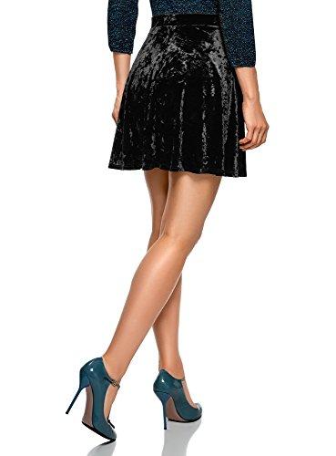 Velours 2900n Noir Souples Plis Femme Jupe oodji en Ultra pw6q6FI