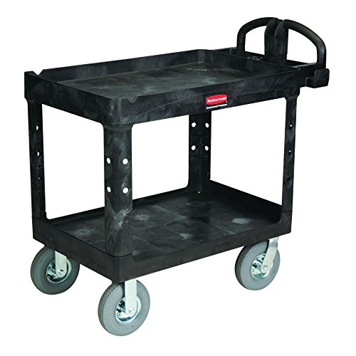 Rubbermaid Commercial Heavy-Duty Service Cart with Lipped Shelves and Pneumatic Casters, Medium (FG452010BLA) by Rubbermaid Commercial Products