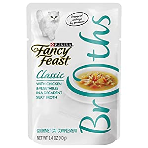 Purina Fancy Feast Broth Wet Cat Food Complement; Broths Classic With Chicken & Vegetables - 1.4 oz(Pack of 16) 117