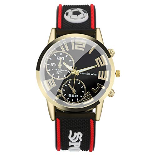 IslandseFashion Outdoor Sports Watch Silicone Strap Double Eyes Simple Dial Men's Watch (Red)