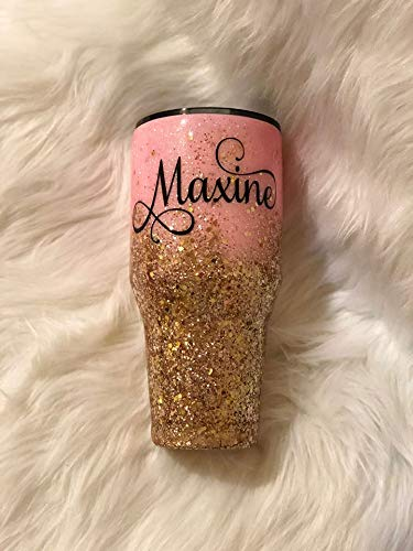 Personalized Tumbler Glitter Ombre Gold and Pink