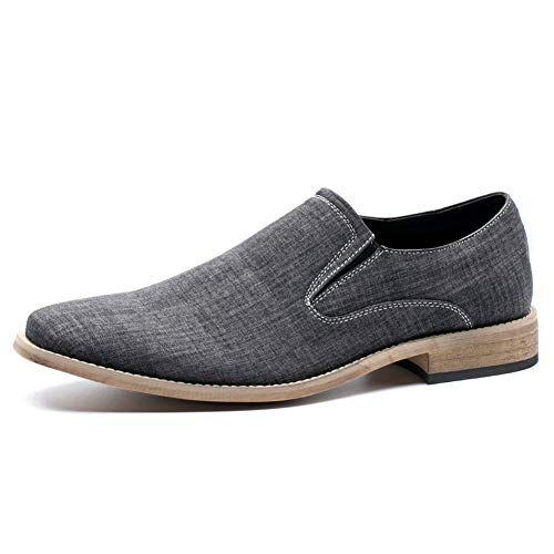 - Men's Casual Canvas Classic Loafer Slip-On Shoe (Black 7.5)