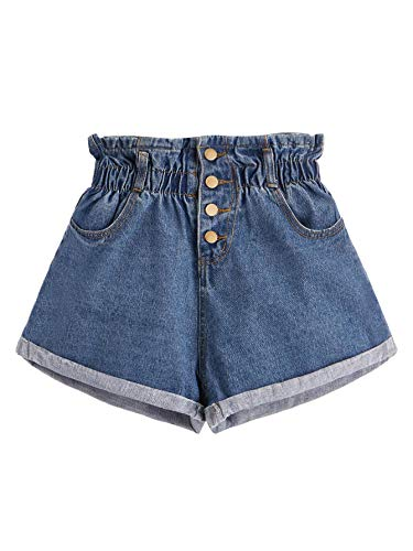 Milumia Women Elastic Waist Rolled Hem Button Denim Shorts Blue-8 M