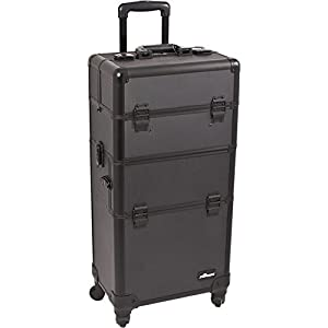 SUNRISE Makeup Case on Wheels I3261 2 in 1 Hair Stylist Organizer, 4 Wheel Spinner, 3 Trays and 1 Removable Tray, Locking with Mirror and Shoulder Strap, Black Dot