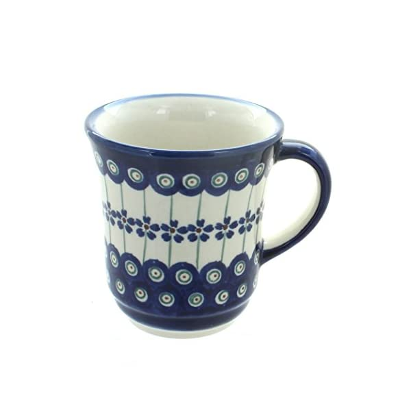Blue Rose Polish Pottery Flowering Peacock Ladies Mug