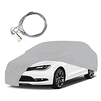 YITAMOTOR Car Cover Universal Fit Waterproof Breathable Outdoor Indoor Snow Rain Dust Wind UV Proof With Lock(Gray)