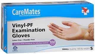 Caremates Vinyl-Pf Examination Gloves, Small 100 each by Caremates (Pack of 2)