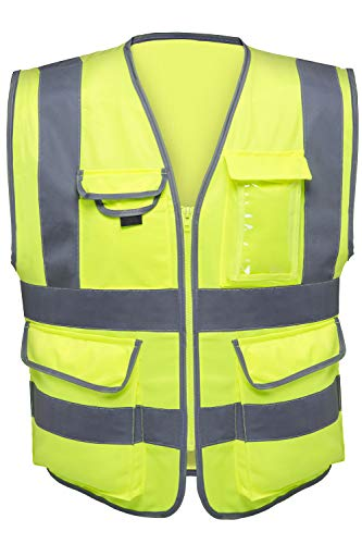 Vest Yellow Safety Reflective - Neiko 53994A High Visibility Safety Vest with 7 Pockets and Zipper, Neon Yellow | Size L