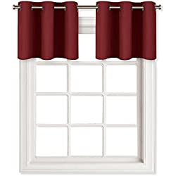 "NICETOWN Blackout Valances Curtains for Small Window - Pair of Thermal Insulated Eyelet Top Plain Blackout Tier Curtains (29 Width x 14"" Length, Burgundy)"