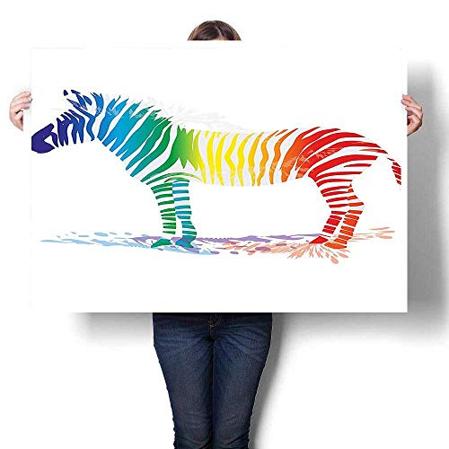 - SCOCICI1588 Canvas Wall Art,Zebra in Gradient Colored Stripes Nature Pattern Oil Painting,Artwork Wall Decor,24