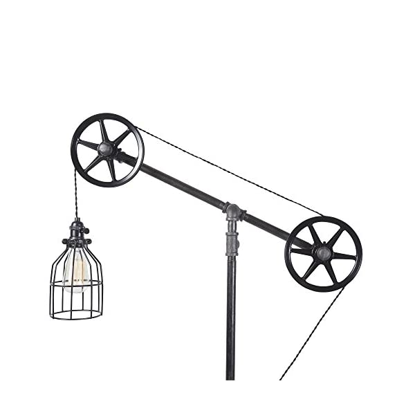 West Ninth Vintage Black Pendant Industrial Standing Floor Lamp with Black Steel Wheels - Use in Any Room - Add Character to Your Office, Living Room or Bedroom 5