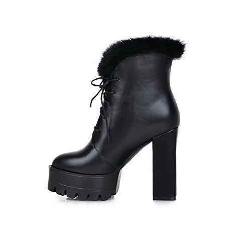 Amoonyfashion Dames Ronde Neus Gesloten Neus Hoge Hakken Laarzen Met Bont Ornament En Bandage Zwart
