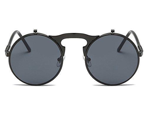 diseño gafas gafas redondo marco steampunk retro neutral Estilo UV Negro gótico Worclub Gris estilo sol de protección IwxOPYfq