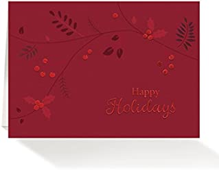 Amazon wall street greetings holiday pack of 25 wall street greetings red foil holly leaves 5x7 holiday cards with 25 ivory m4hsunfo